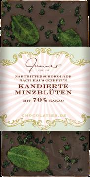 Zartbitter Schokolade mit kandierten Minzblüten