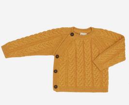 Strickpulli Baumwolle/Wolle mit Zopfmuster und Knopfleiste