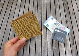 """Brieftasche Python aus Schlangenlederimitat """"Cafe Latte"""" in hellbraun / beige"""