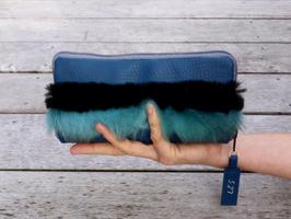 Portemonnaie blau mit FauxFur und Leo Nr 527