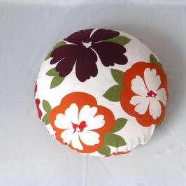 Rundes FlowerPowerKissen Durchmesser 60 cm, orange Rückseite
