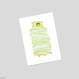 "Postkarte ""Streifenbett"""