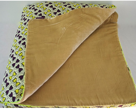 bed cover in african wax and velvet  180 x 115 cm
