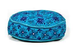 Indian Flowers Poef Blauw