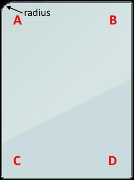 Ecken für Glassplatte X