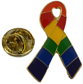 Aids-Schleife Rainbow Anstecker 3 cm
