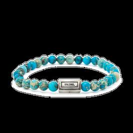 Blauwe Jaspis Beads en Massief Zilveren Armband