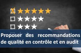 """1 accès pour la formation """" Proposer des recommandations de qualité en contrôle et en audit """""""