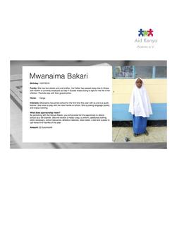 Sponsorship Mwanaima Bakari