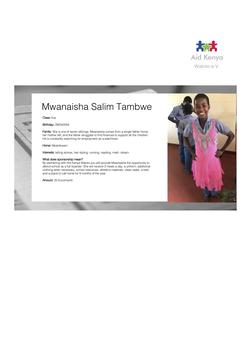 Sponsorship Mwanaisha Salim Tambwe