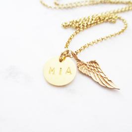 Monogramm Halskette mit Flügel Sterlingsilber vergoldet