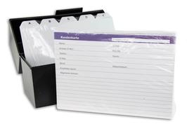 Kundenkartei Box mit Register und Kundenkarten transparent