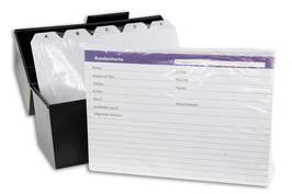 Customer file box with tabs and customer cards transparent