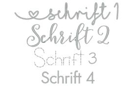 Schriftart Schnullerband mit Name