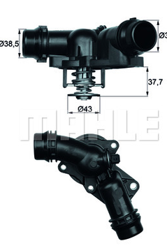 Thermostaat BMW E36 E46 E39 E60 E61 E65 E66 X3 Z3 Z4  6 cilinder m52 m54