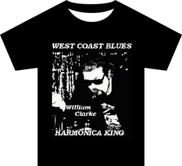 "William Clarke ""West Coast Harmonica King"" Black T Shirt"