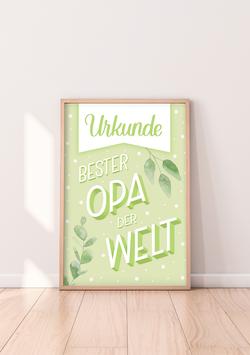 """Urkunde """"Bester Opa der Welt"""""""