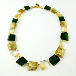 Halskette gold-smaragdgrün