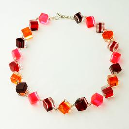 Halskette im Würfelmix pink, rot und orange