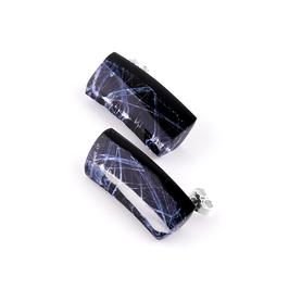 Ohrstecker schwarz mit Silbertextur