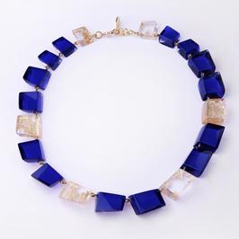 Halskette royalblau-gold