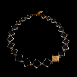 Halskette transparent mit Goldmetall