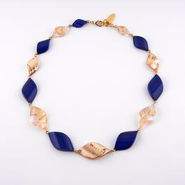 Halskette gold-royalblau