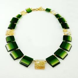 Halskette gold-olivgrün