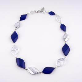 Halskette Silbermetall und blau