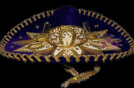 "Mexikanische ""BLUMEN"" Sombrero - DUNKELBLAU & GOLD"