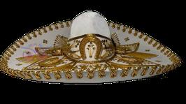 "Mexikanische ""BLUMEN"" Sombrero - WEISS & GOLD"