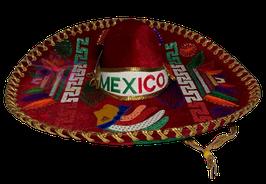 "Mexikanische ""AZTECA"" Sombrero - ROT & GOLD"