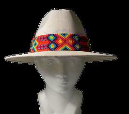 Sommer Hut - Strohhut mit farbenreicher Band - WEISS