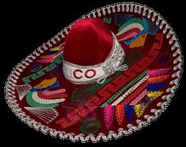 "Mexikanische ""AZTECA"" Sombrero - ROT & SILBER"