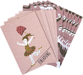 Einladungskarten - Set »Zirkusmädchen/ Pferd«