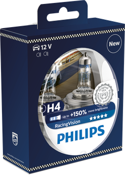 H4 PHILIPS RACINGVISION 150% mehr Licht 12V