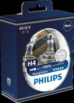 H4 PHILIPS RACINGVISION 150% mehr Licht 12V