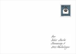 Kuverts Nr. 4 von Hand angeschrieben