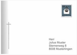 Kuvert Nr. 6 mit Verlauf und Kreuz