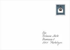 Kuverts Nr. 3 von Hand angeschrieben