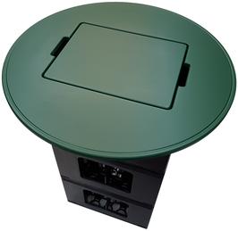 Bierkisten Stehtisch - grün foliert - Runde Form - mit uni Einlegebrett