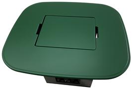 Bierkisten Stehtisch - grün foliert - Stadionform - mit uni Einlegebrett