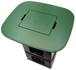 Bierkisten Stehtisch - grün foliert - Stadionform - mit Einlegebrett / Spielfeld