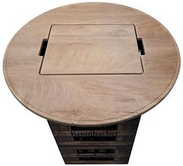 Bierkisten Stehtisch - Holz/Eiche foliert - Runde Form - mit uni Einlegebrett