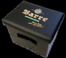 Original Barre Bräu Logo auf schwarzem Kunstleder