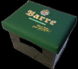 Original Barre Bräu Logo auf grünem Kunstleder