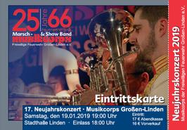 Eintrittskarte für das 17. Neujahrskonzert des Musikcorps Großen-Linden