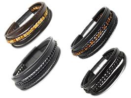 Retro rustikal Männerarmband aus Leder und Natursteinperlen (A040)