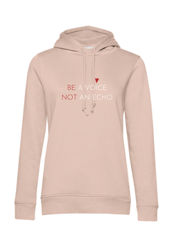 ORGANIC HOODIE BE A VOICE - SOFT ROSE