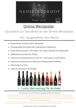"""Gutschein """"Online Weinprobe"""" - Deutschlands erste Bio-Online-Weinprobe"""